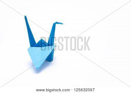 Blue crane isoleted on white background origami