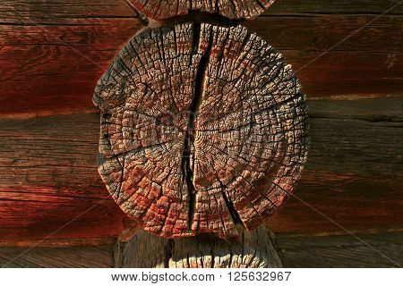 Wooden log house. 