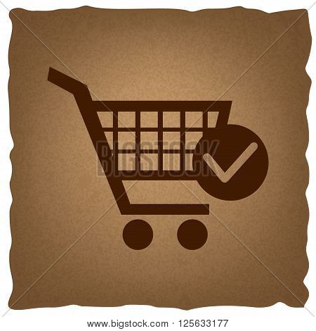 Shopping Cart and Check Mark Icon. Coffee style on old paper.