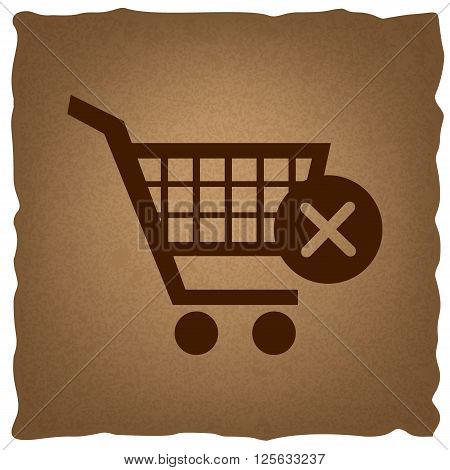 Shopping Cart and X Mark Icon, delete sign. Coffee style on old paper.
