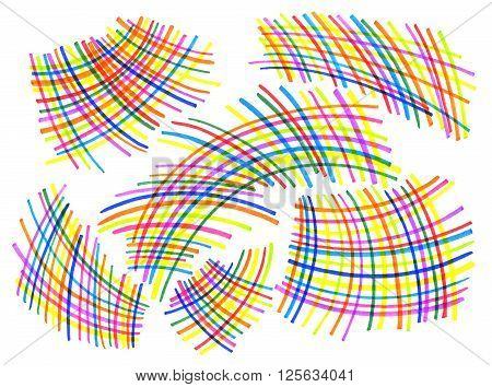 White background with bright color curved intersecting lines patterns for design