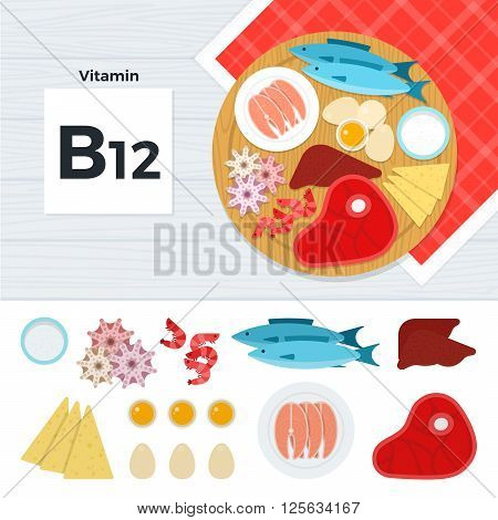 Vitamin B12 vector flat illustrations. Foods containing vitamin B12 on the table. Source of vitamin B12: fish, meat, liver, seafood, eggs, cheese  isolated on white background