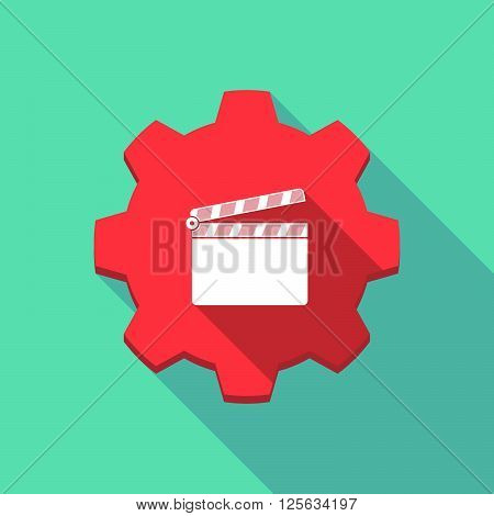 Long Shadow Gear Icon With A Clapperboard