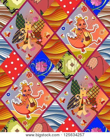 Childish seamless patchwork pattern with fairy dragons, butterflies, flowers and waves. Cute vector illustration of quilt.