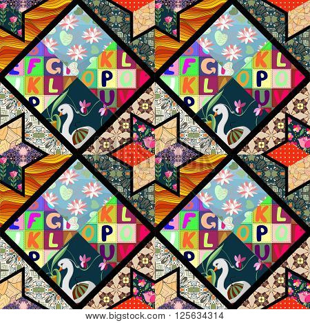 Childish seamless patchwork pattern with fantasy swan, flowers and letters. Cute vector illustration of quilting.