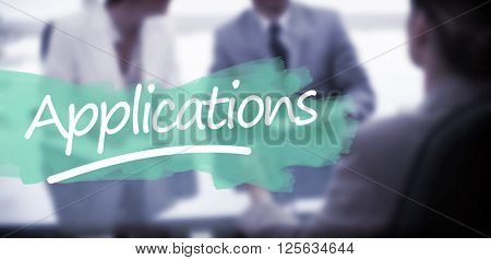 Word applications underlined against business partners talking with lawyer