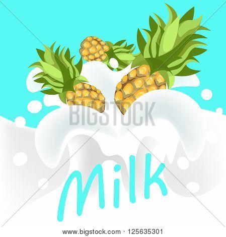 Pine apple in milk yoghurt with word milk