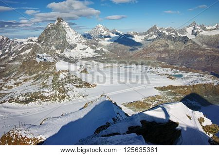 Winter view of mount Matterhorn, Canton of Valais, Alps, Switzerland