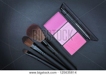 Dark Tone Selective Focus  On Beautiful Pink Cheek Blusher Kit
