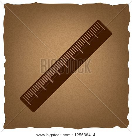 Centimeter ruler sign. Coffee style on old paper.