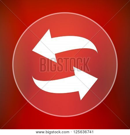 Swap icon.  White translucent internet button on red background.