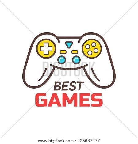 Games store logo template. Video game controller outline icon. Logotype for game developers company or shop. Wireless gamepad or joystick line icon. Vector illustration