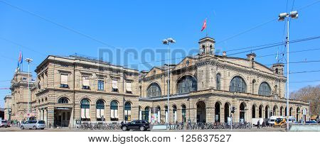 Zurich, Switzerland - 11 April, 2016: Zurich Main train station building. Zurich Main train station (German: Zurich Hauptbahnhof or Zurich HB) is the largest train station in Switzerland.