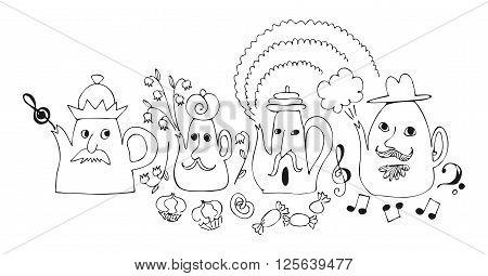 Cartoon drawing of talking teapots. Cute fairy vector illustration.