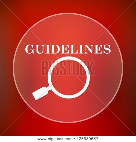 Guidelines icon. White translucent internet button on red background.