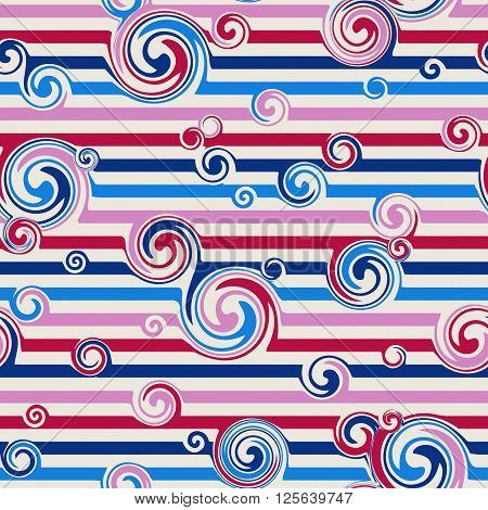 Seamless pattern with stylish spiral curls. Vector texture.