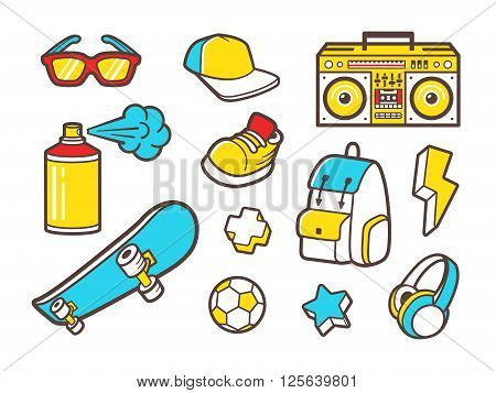 Youth culture symbols - headphones, sneakers shoes, backpack and sunglasses. Urban lifestyle flat line icons - boombox, paint spray, soccer ball and skateboard. Vector outline icons set.
