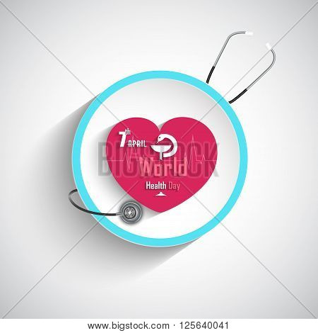 Illustration of World health day concept with Stethoscope and heart