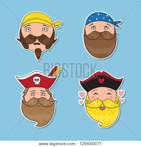 Set Of Emotional Pirates. Different Emotional Faces.