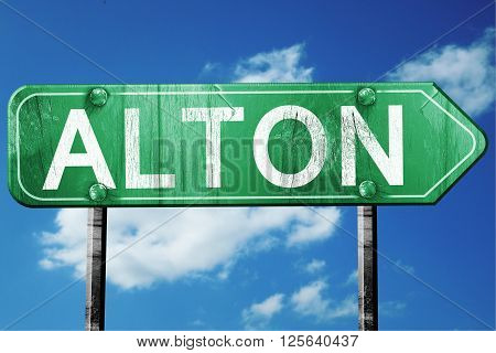 alton road sign on a blue sky background