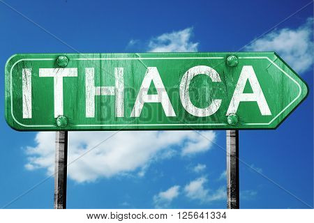ithaca road sign on a blue sky background