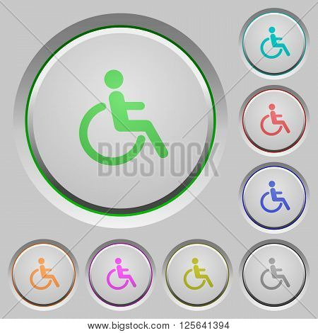 Set of color disability sunk push buttons.