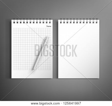 Collection of corporate identity presentation templates mock up with notebook and pen. Ready for your design on gray background.