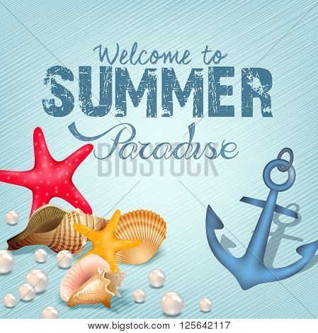Illustration of Marine life elements. Summer paradise