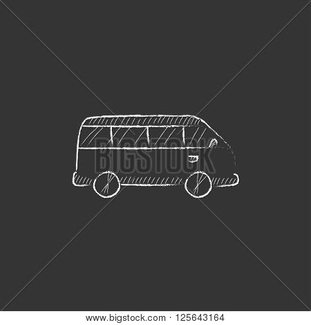 Minibus. Drawn in chalk icon.