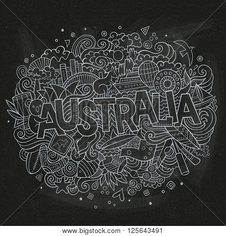 Australia country hand lettering and doodles elements and symbols background. Vector hand drawn chalk board illustration