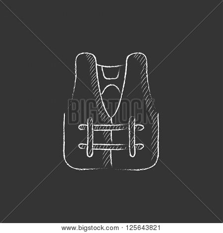 Life vest. Drawn in chalk icon.