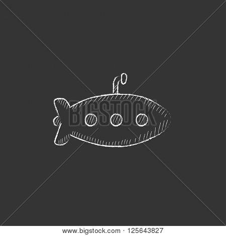 Submarine. Drawn in chalk icon.