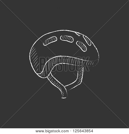Bicycle helmet. Drawn in chalk icon.