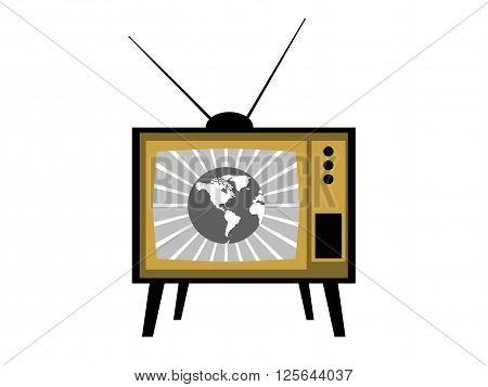 Old Tv With Antennas. Retro Tv Icon. Vector.