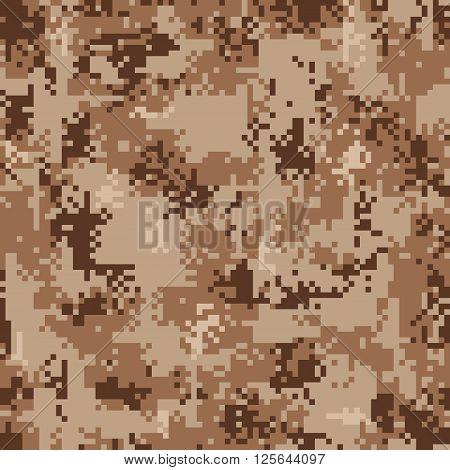 Vector illustration of digital desert camouflage seamless pattern