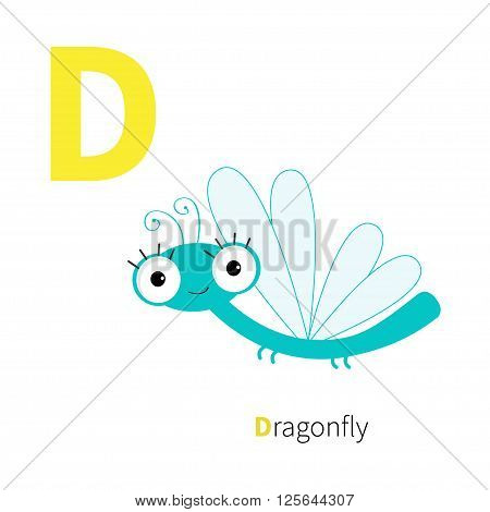 Letter D Dragonfly. Zoo alphabet. Insect. English abc with animals Education cards for kids Isolated White background Flat design Vector illustration
