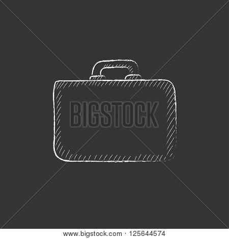 Briefcase. Drawn in chalk icon.