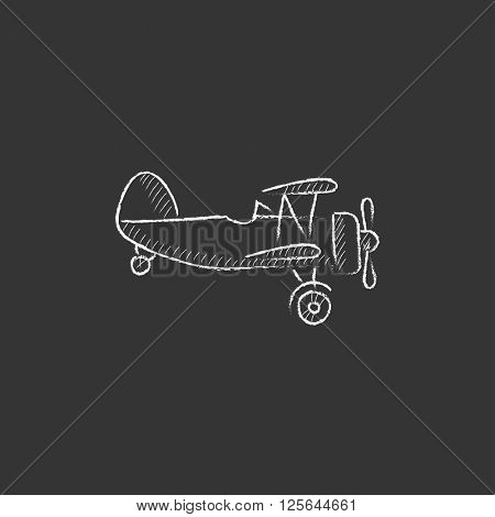 Propeller plane. Drawn in chalk icon.