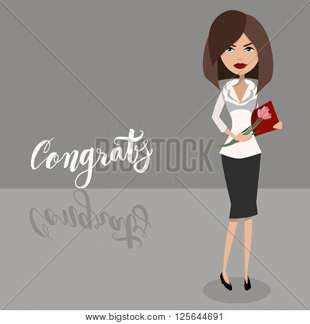 Vector cartoen character design of a secretary lady, businesswoman, boss, office worker. Congratulations with the secretary day holiday