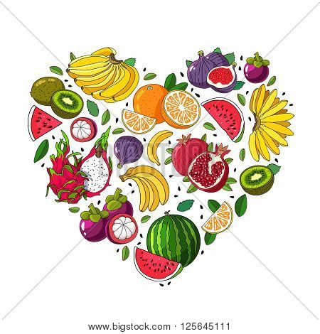 Fruit heart. Various summer fruits are laid out in the shape of a heart. Vector illustration on white background. Excellent summer poster. Fruit icons.