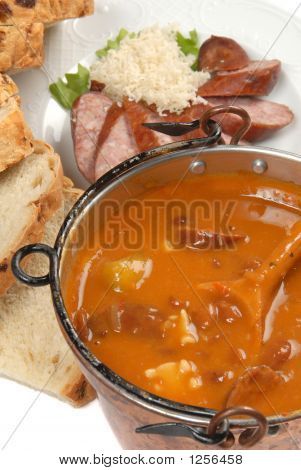 Fresh Vegetable And Sausage Soup With Bread