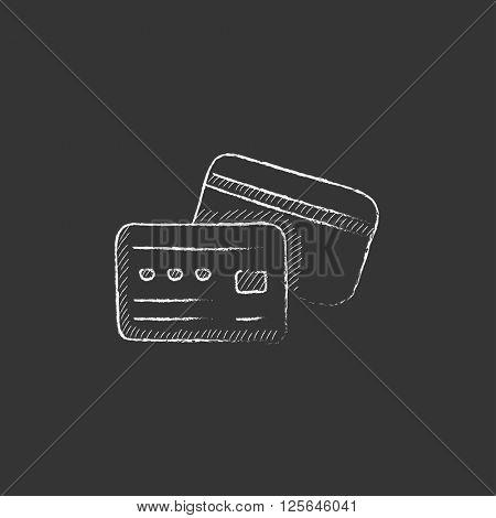 Credit card. Drawn in chalk icon.