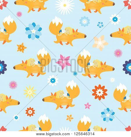 Seamless pattern with cute cartoon foxes and girls. Summer walk. Flower glade. Vector image.  Children's illustration.