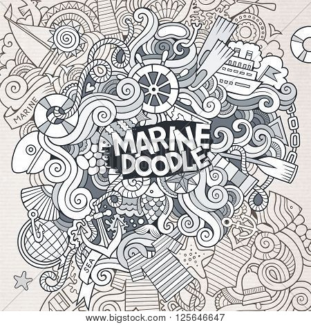 Doodles abstract decorative marine nautical vector line art background