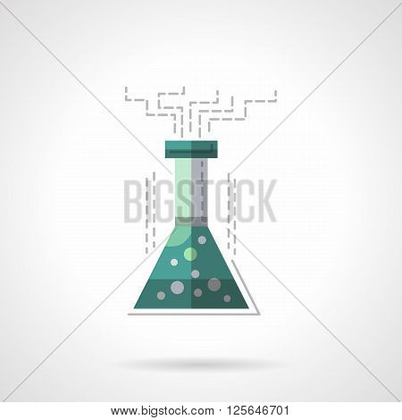 Cone flask with bubbles liquid and smoke. Chemical reaction. Laboratory research. Lab equipment. Education and science. Flat color style vector icon. Web design element for site, mobile and business.