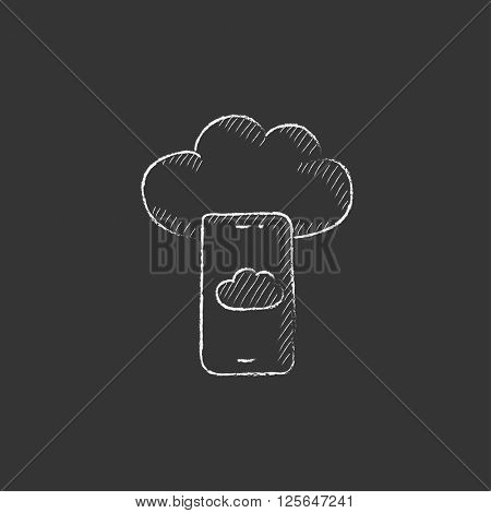Cloud computing. Drawn in chalk icon.