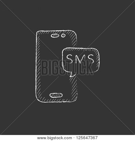 Smartphone with message. Drawn in chalk icon.