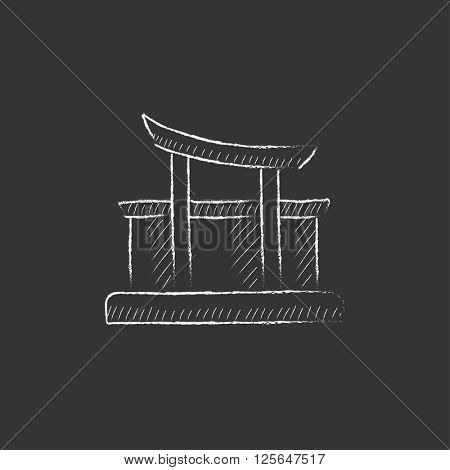 Torii gate. Drawn in chalk icon.