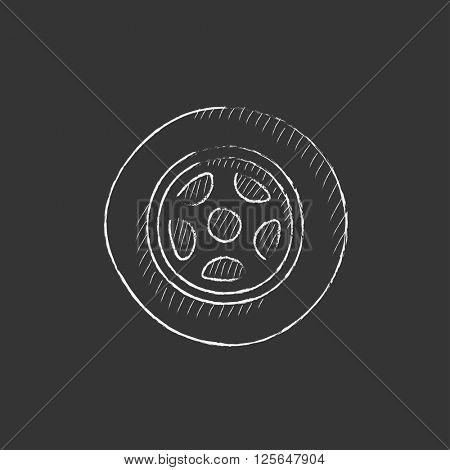 Car wheel. Drawn in chalk icon.