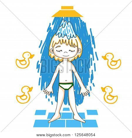 Boy takes a shower color vector drawing. Healthy lifestyle background.